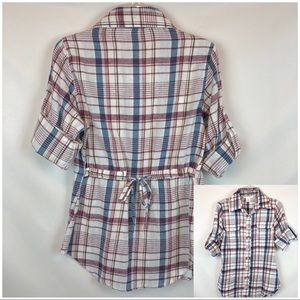 Charlotte Russe Plaid Blouse Size Small